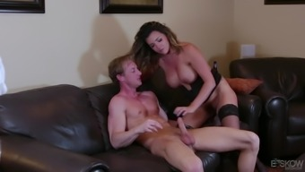 Astonishing brunette Danica Dillon encourages a slab ingest her clit before a fuck