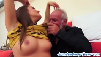 Cum dispersed youngster likes grandpas major cock