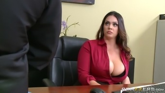 alison tyler has ceo's offspring have her hungry pussy underneath her working desk