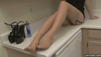 Faye Reagan in stockings item fucking her pussy in erotic home kitchen genital masturbation
