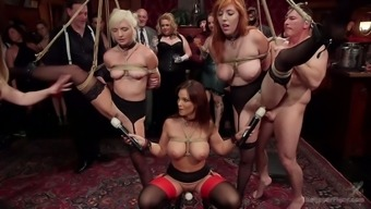 Sex-appeal female friend Syren De Mer punishes pussies of a pair of bound chicks
