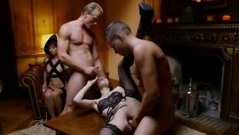 Outstanding nice girls in cock switching hardcore quartet