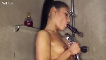 cute apolonia lapiedra products herself to peak while taking a shower