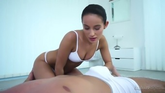 Brunet masseuse Lexi Dona take pleasure in touching challenging and chunky pole