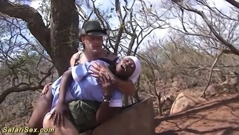 africa housemaid gets spanked by white colored mankind and face fuck his raise outdoor
