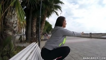 franceska jaimes within a leggings requesting upon the counter publicly