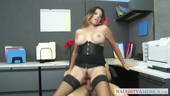 danica dillon dressing stockings and corset rides her person-in-charge in the office