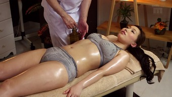 Warm Japanese people milf located on the massage desk for little finger fucking