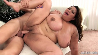Giant boobed massive asian takes cock