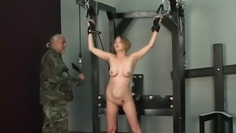 Hard pristine turns this slave army officer girl's booty vivid scarlet in jail