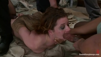 Various Cumshots after Twofold Intrusion Fuck in Interracial Gangbang
