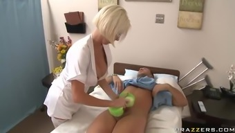 Blonde Clinician Trying Attractive Panties Titty Fucks A huge Penis