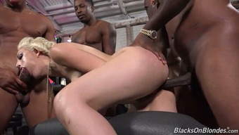 Audience of intercourse ravenous black all men bang one wild blond bitch Jenna Creme by transform