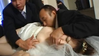 Oriental bride gets extreme group fucking part1
