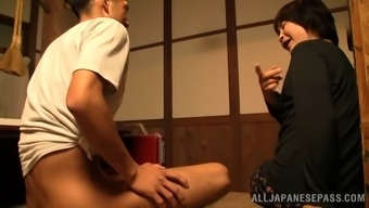 Melancholy grow older amateur Far eastern redeeming a astounding palm task thereafter gives a spicy blowjob