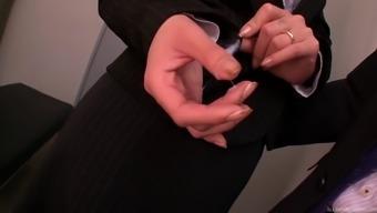 Hottie snagged masturbating on the job gives him a handjob