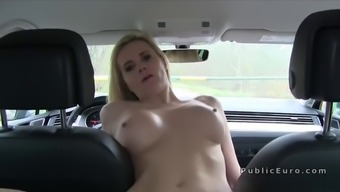 Busty blonde Milf goes off publicly