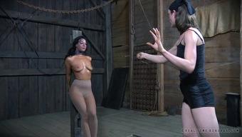 Wild BDSM workout featuring a rude dark bimbo