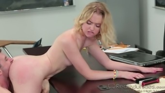 Dull breasted spoiled coed Chloe Couture got her muff processed by twisted tutor complicated