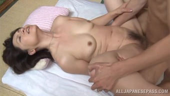 Immoral japanese people senior babe Yuuri Saejima bounces on warm dick