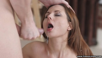 Making love to some thin beauty and nutting on top of her face
