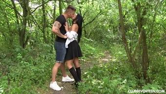 Sensual woods sexual intercourse act by using concerned blond dame
