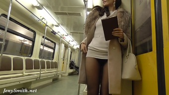 Jeny Smith pantyhose subway pussy rush