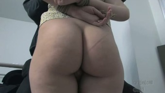 Repulsive nerdy pigtailed blonde gets hands involved behind back and mouth banged