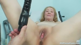 Gyno medical professional speculum examines very old grow older pussy Sofie