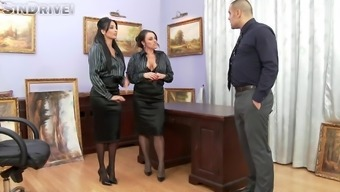 Two different place of work babes presenting sexual satisfaction on their boss in FFM decrease