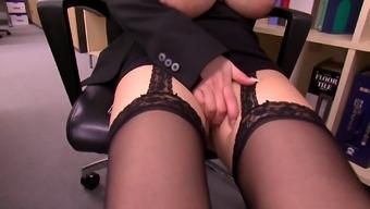 Desk slut along with massive Japanese people titties gets laid