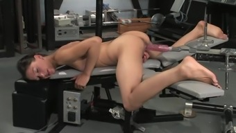 Trimmed Cali gets her ripe vaginal canal drilled by a machinery