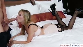 Jillian Janson greets her enthusiast within the sexy intimate apparel after which he fucks him