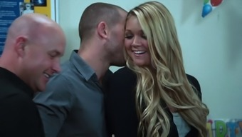 Extreme rear end felling action with the use of blonde surprise Jessie Andrews