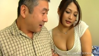 Aoi Miyama rubbing her pussy on a community shuttle in stockings