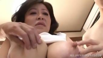This slutty Japanese MILF loves having males sperm inside her