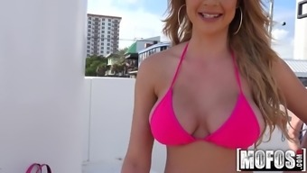 2-piece swimsuit Blond Flashes for Capital video starring Skyla Novea