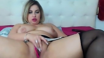 Plus-size woman toying herself