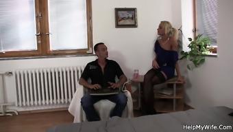 Young Czech blond cuckolds old husband