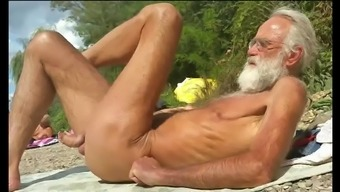 Nudist grand father with the seaside - seven
