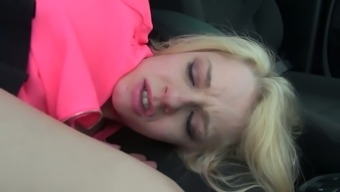 Malicious hitch-hiker April Paisley gives blowjob in the car and gets rammed upon the back seat