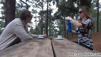 lactation in the forest along with true novice MILF