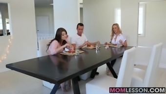 Brown MILF Cherie Deville and teenage Jojo Kiss and lick cracked on tabl