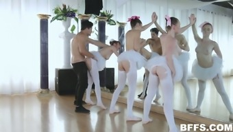 Attractive ballerinas in tutus yearning to try stiff cock within the interact perform room