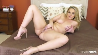 Alexis Texas explodes her bright purple bra and panties and touches herself