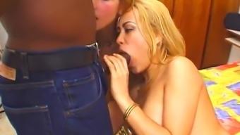 A pair of black cuties take pleasure in interracial anal FFM threesome sex