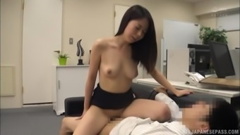 Brunette girl only wants to ride his hard dick on the couch