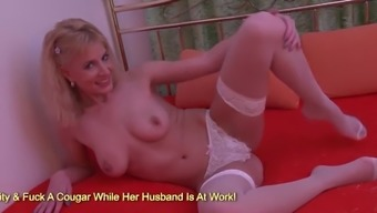 Blonde cunt in sexy withe lingerie rubbing her clit on bed