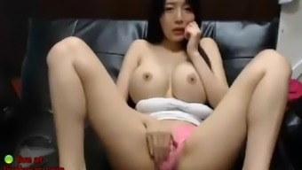 Korean cam beauty shows her huge tits