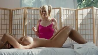 Big tits lesbian bimbo kissing the asshole of great Kayla Kayden